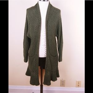 Anthropologie Guinevere knit ruffle hem cardigan.
